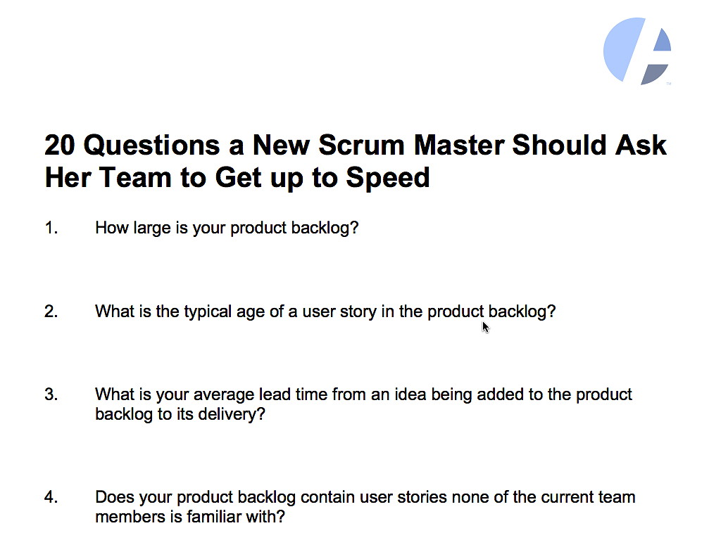 20 Questions A New Scrum Master Should Ask Her Team To Get