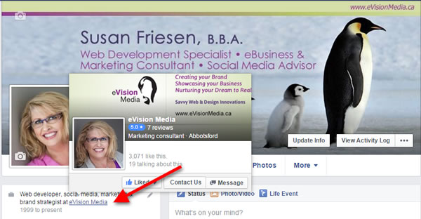 Adding Facebook page URL to personal profile