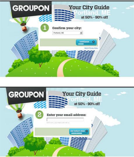 Groupon 1 Landing page