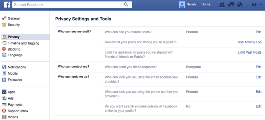 Friends Facebook Privacy Settings List