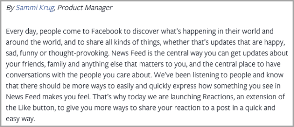 Sammi krug product manager for facebook reactions