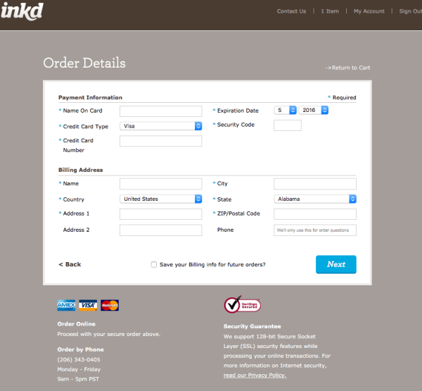 inkd's checkout is simple and fit in with website design