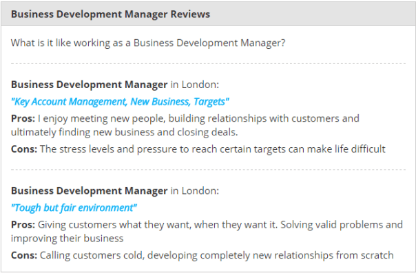 Source: Feedback from Business Development Managers via Payscale.com
