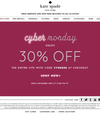 Kate Spade Cyber Monday email template