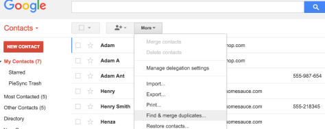 Find & merge duplicates PieSync Google Contacts