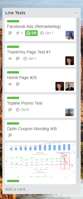 trello live experiments list