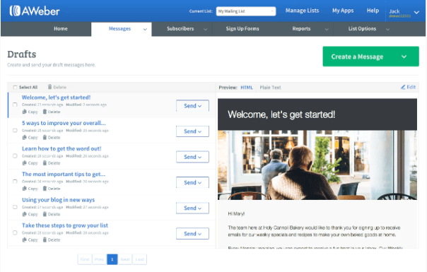 email marketing platform AWeber