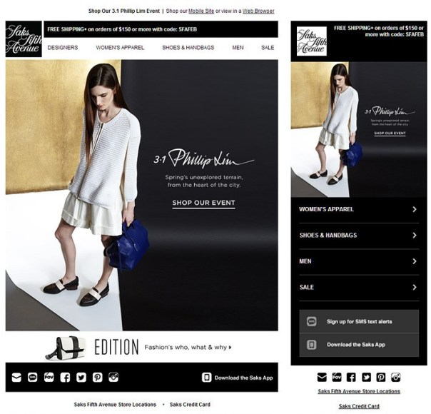 Accordion in Email sample - Saks