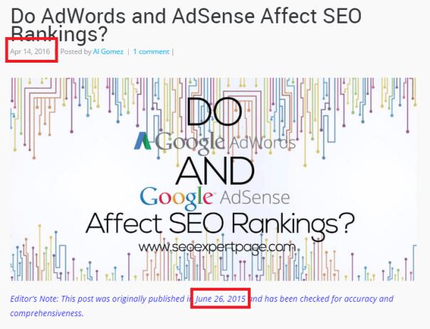 Google Ranking freshness