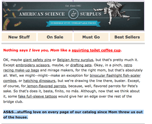 American Science & Surplus Mothers Day email campaign
