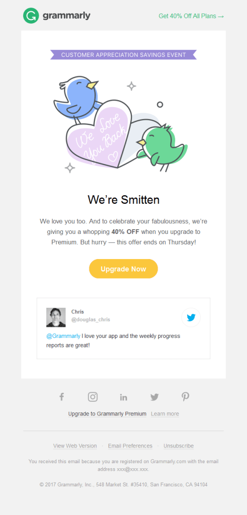 Grammarly appreciation email- minimalist email