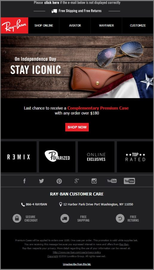 Rayban_4th of july email templates