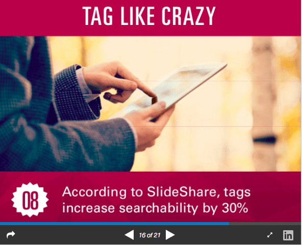 SlideShare marketing use tags to maximize visibility
