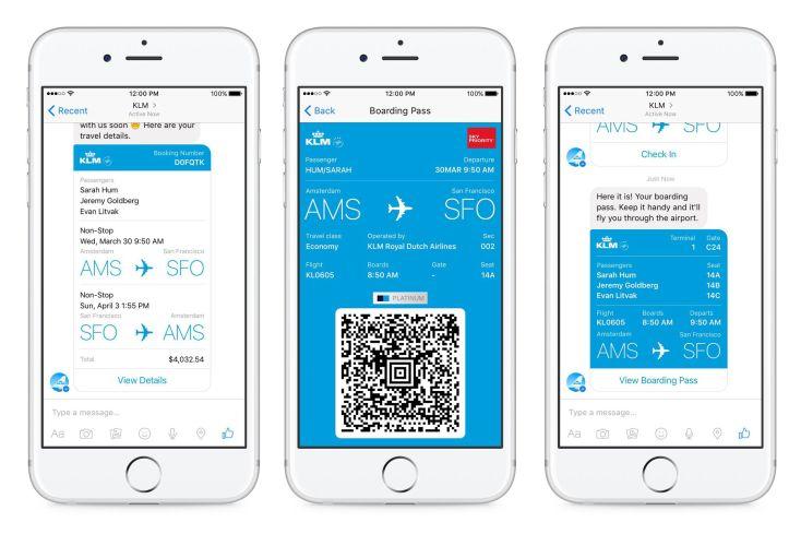 KLM chatbot on Facebook Messenger