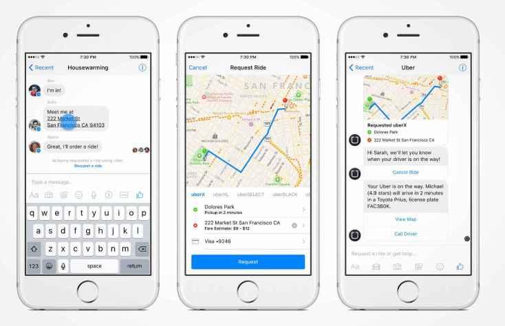 Uber chatbot on Facebook Messenger