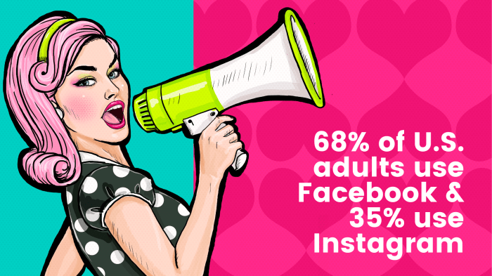 A cartoon woman with a megaphone, with the Facebook and Instagram ad stat on top of it.