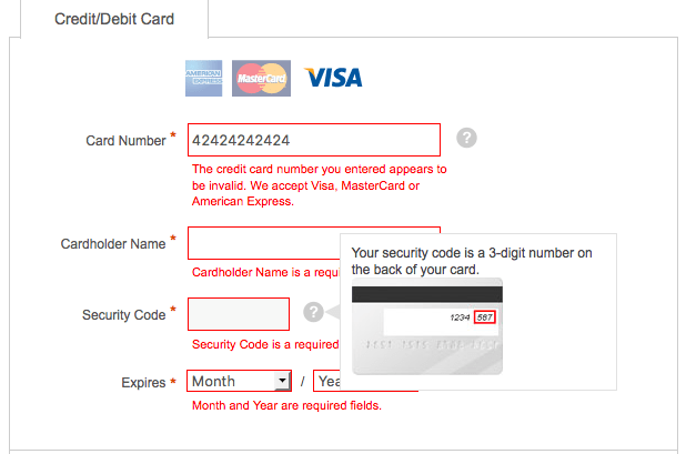 error microcopy in payment form