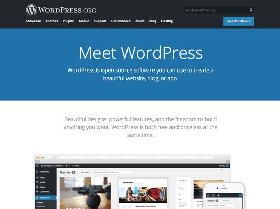 WordPress homepage 2019