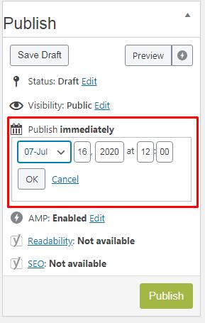 schedule content in WordPress