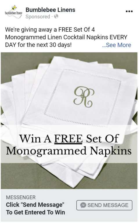 Free set of napkins ad.