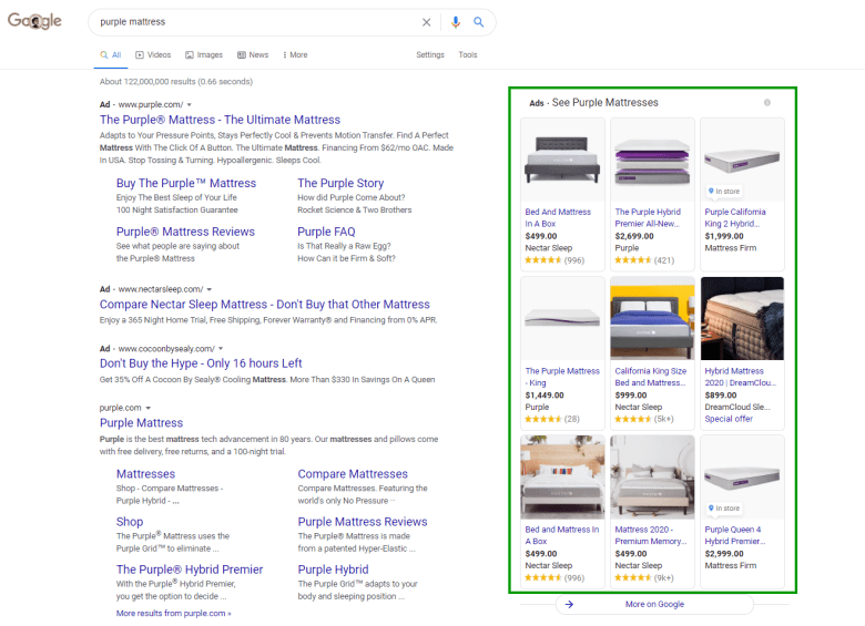 Google Shopping ads appearing in the right hand corner of search results