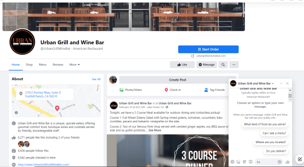 Urban Grill uses Facebooks chat feature
