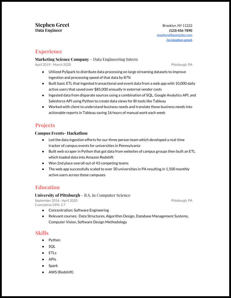 4 Data Engineer Resume Examples That Work In 2021