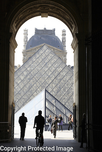 Pyamid by Pei at the Louvre Art Museum, Paris, France