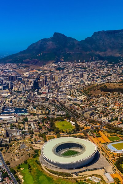 Aerial View, Cape Town Stadium and Central Business ...