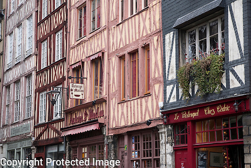 Half-timbered Building Shop Windows, Rouen, France