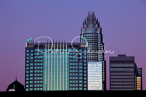 Purple sky over Charlotte NC skyline with Bank of America tower in photo