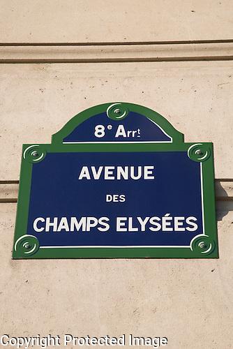 Avenue des Champs Elysees Sign, Paris
