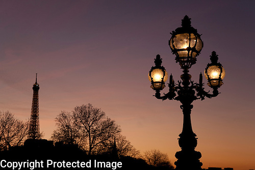 Lampost of Pont Alexandre III Bridge with Eiffel Tower, Paris