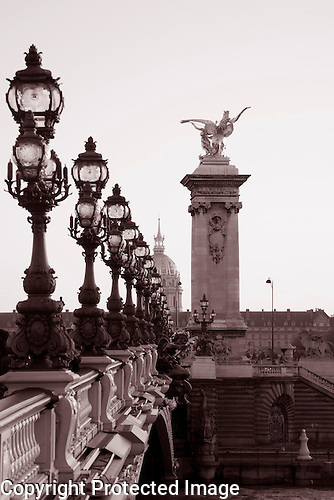 Pont Alexandre III Bridge in Black and White, Paris, France