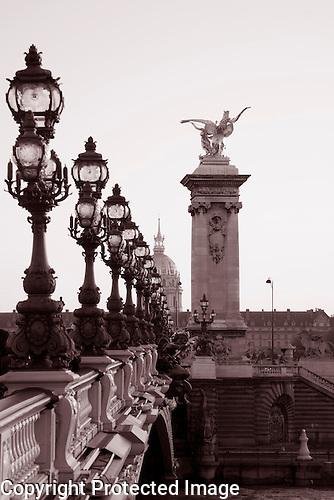 Pont Alexandre III Bridge in Black and White, Paris, France