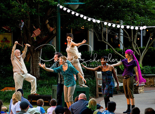 Members of the Charlotte Shakespeare festival performing The Tempest in uptown Charlotte NC.