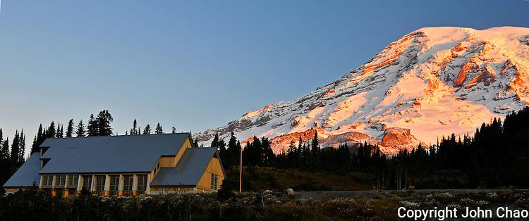 Sunrise Lights Jackson Visitor Center Below Mt Rainier