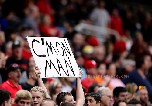 A fan holds up a sign during the 2012 MSHSAA football state championships at the Edward Jones Dome on November 24, 2012 in St. Louis, Missouri.