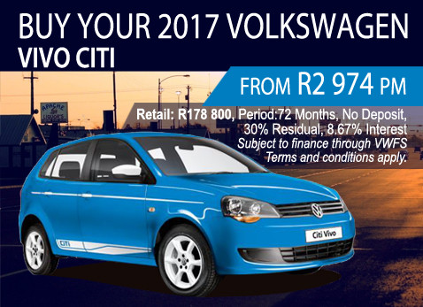 2017 Volkswagen Vivo CITI From Only R2 974 p/m