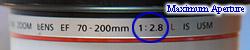 maximum aperture in 1:X format