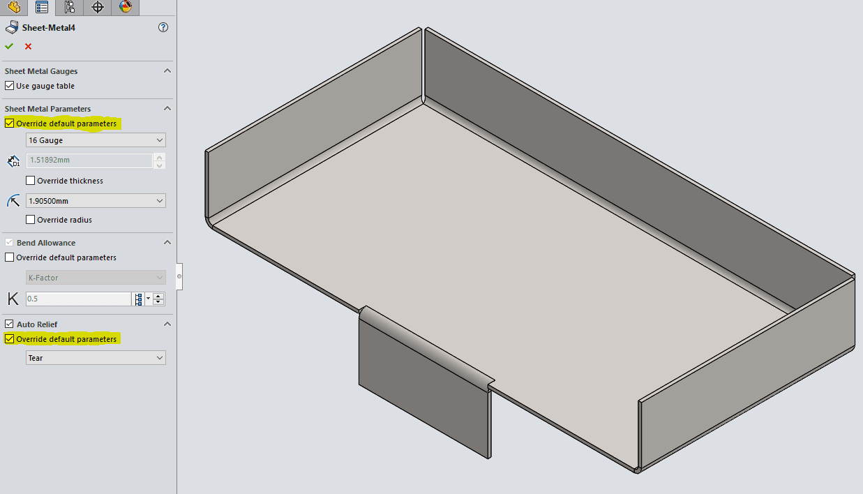 Solidworks 2017 Sheet Metal Options