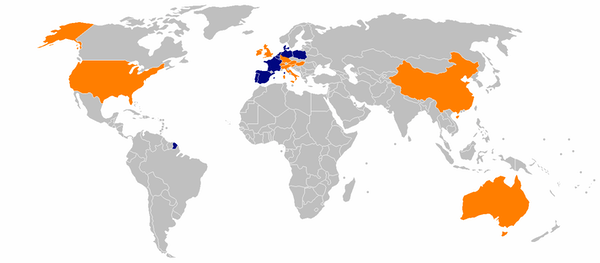 A map of countries marked orange and blue