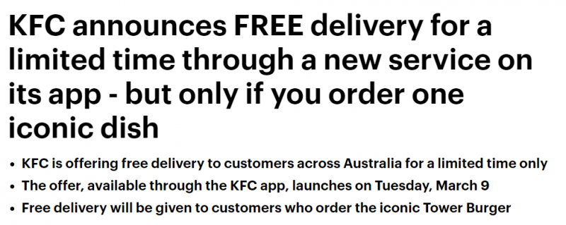 Australia-Australia KFC launches free food delivery service for the first time!Tower Burger returns for a limited time, don't miss the foodie (photo) | Australia Chinatown