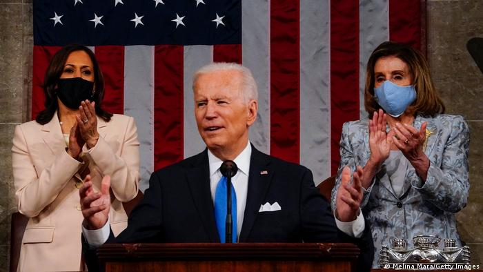 Biden takes a tough stance against China in his first speech to Congress
