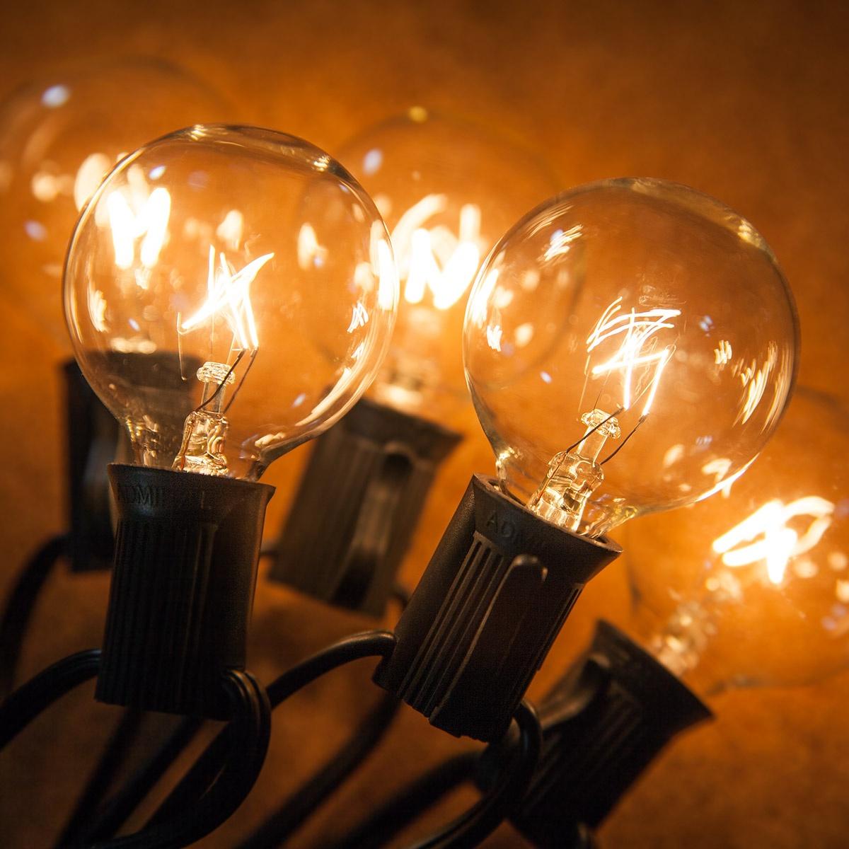 Patio Lights Clear Globe String Lights 33 G40 E12 Bulbs