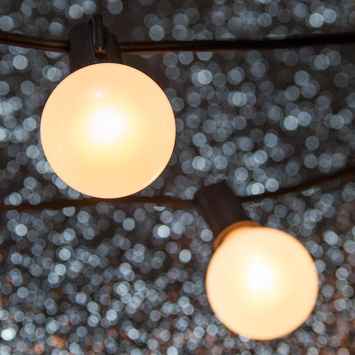 Patio Lights Pearl White Satin Lights 15 G50 E17 Bulbs