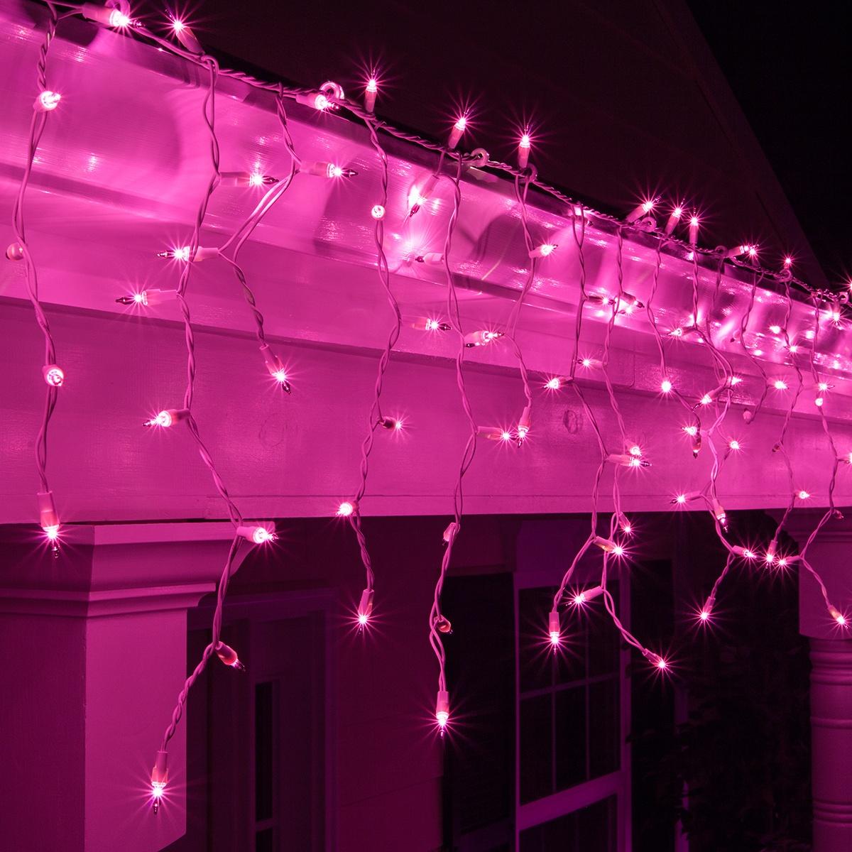Christmas Icicle Light 100 Purple Icicle Lights White
