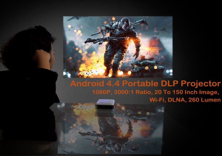 Android 4.4 Portable DLP Projector