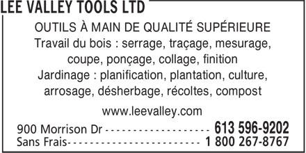 Lee Valley Tools Ltd (613-596-9202) - Display Ad - OUTILS À MAIN DE ...