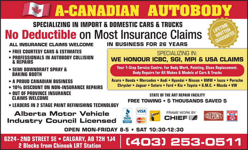 A Canadian Autobody Opening Hours 6224 2 St Se